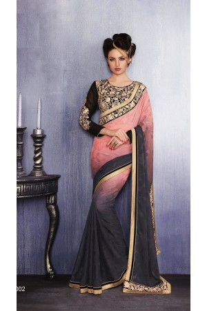 Party-wear-Pink-Charcoal-color-saree
