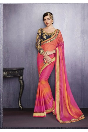 Party-wear-Pink-Orange-color-saree