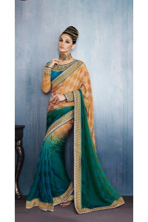 Party-wear-Rama-Green-Mustard-color-saree