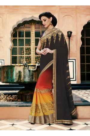 Party-wear-brown-orange-color-saree