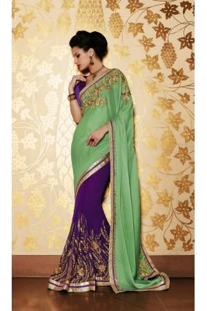 Party-wear-green-purple-color-saree