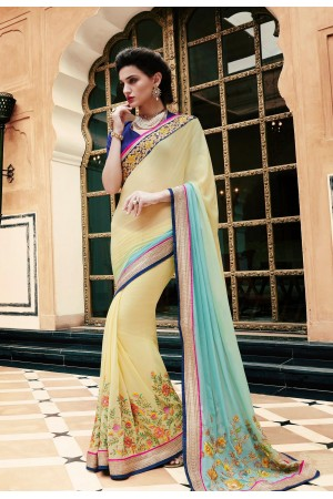 Party-wear-yellow-blue-color-saree