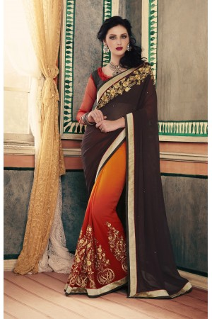 Party-wear-Brown-Rust-color-saree