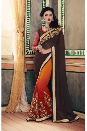 Party-wear-Brown-Rust-color-saree