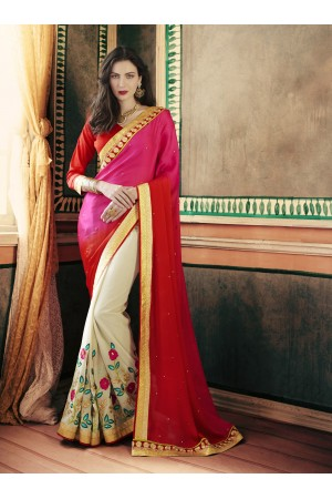 Party-wear-Grey-Pink-color-saree