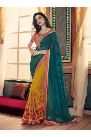 Party-wear-Mustard-Rama-Green-color-saree