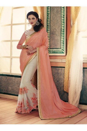 Party-wear-Peach-Cream-color-saree