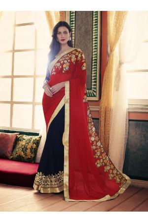 Party-wear-Red-Black-color-saree