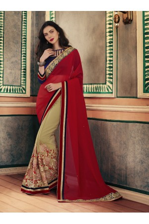 Party-wear-Red-Chikoo-color-saree