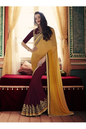 Party-wear-Wine-Mustard-color-saree