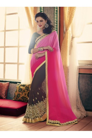 Party-wear-coffee-pink-color-saree