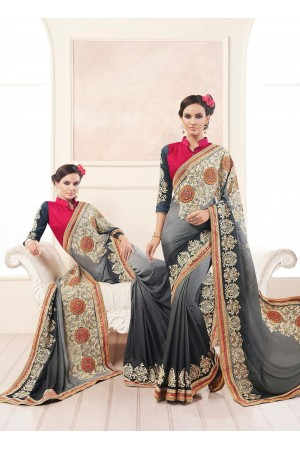 Party-wear-Charcoal-Grey-color-saree