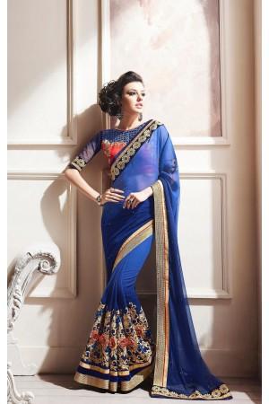 Party-wear-Ink-Blue-color-saree