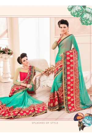Party-wear-Sea-Green-color-saree