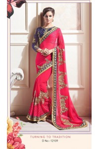Party-wear-Tulip-Red-color-saree