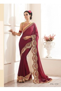 Party-wear-Wine-color-saree