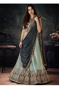 Dual tone green and blue tafetta silk wedding lehenga choli
