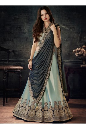 Dual tone green and blue tafetta silk wedding lehenga choli