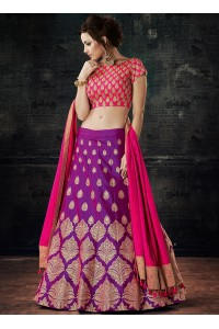 Purple dual tone silk wedding lehenga choli
