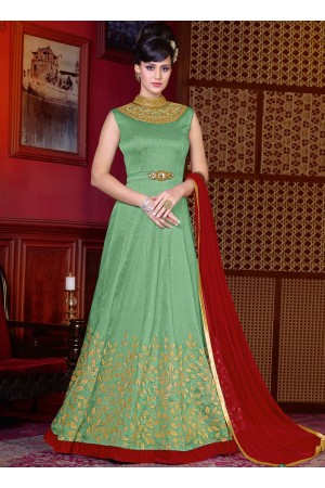 Green color shaded silk wedding anarkali