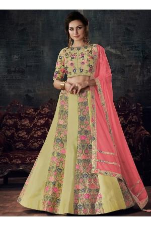 Green raw silk wedding lehenga choli