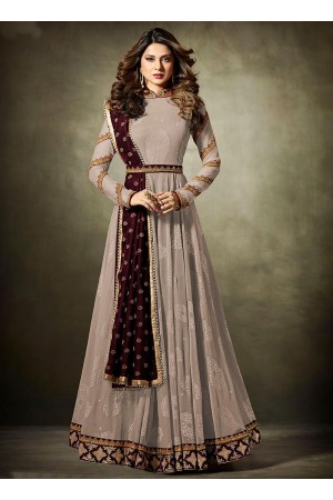 Jennifer Winget Beige and Maroon Lycra jacquard anarkali