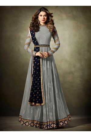 Jennifer Winget Grey and Navy blue Lycra jacquard anarkali