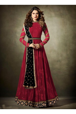 Jennifer Winget Maroon and Black Lycra jacquard anarkali