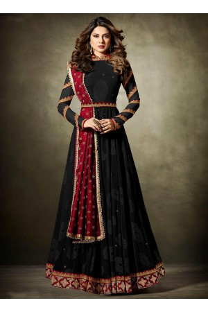Jennifer Winget Black and maroon Lycra jacquard anarkali