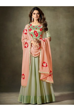 Jennifer Winget mint green georgette and handloom silk anarkali