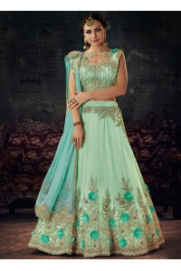 Light blue net wedding lehenga choli