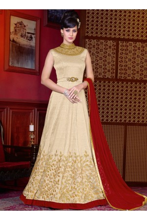 Off White color shaded silk wedding anarkali