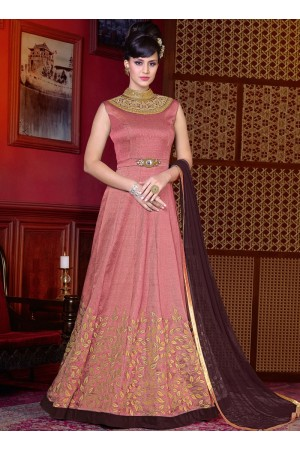 Pink color shaded silk wedding anarkali