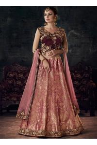 Pink and maroon silk and velvet wedding lehenga choli