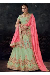 Pista green silk wedding lehenga choli