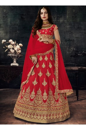 Red color silk wedding lehenga choli