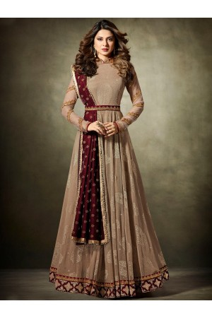 Jennifer Winget Brown and maroon Lycra jacquard anarkali