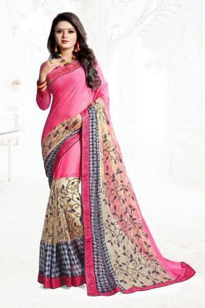 Indian Wedding Art Silk Pink Colour Saree 1558