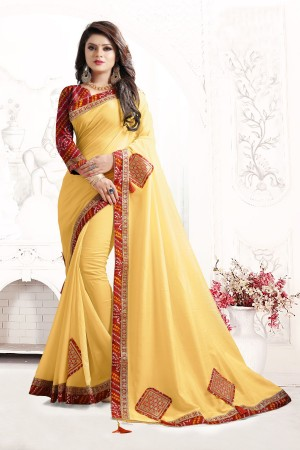 Indian Wedding Art silk Yellow Colour Saree 1561