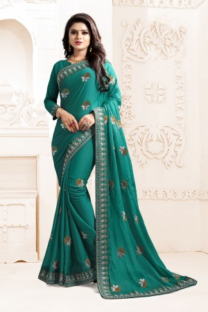 Indian Wedding Chiffon Sea Green Colour Saree 1566