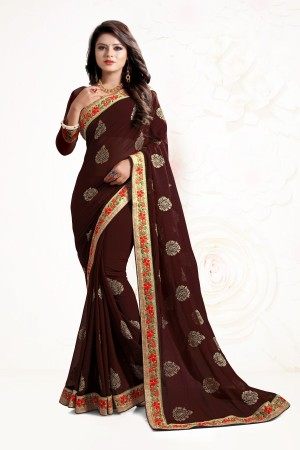Indian Wedding Georgette Brown Colour Saree 1554