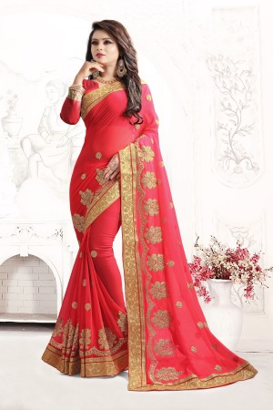 Indian Wedding Georgette Pink Colour Saree 1552
