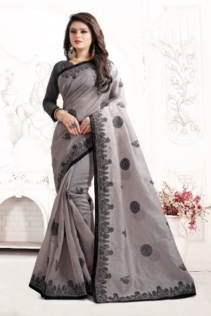 Indian Wedding organza Art silk Grey Colour Saree 1562