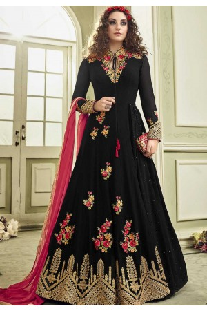 Black color color wedding anarkali suit