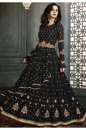 Black color georgette wedding anarkali suit