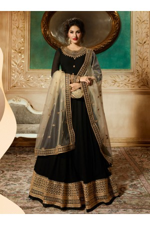 Amyra Dastur Black georgette wedding anarkali 9086