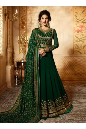 Amyra Dastur Green georgette wedding anarkali 9083