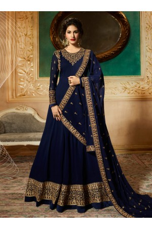 Amyra Dastur Navy Blue georgette wedding anarkali 9081