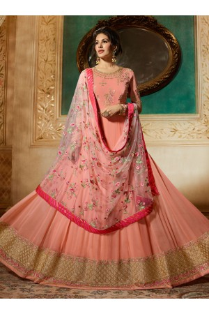 Amyra Dastur Peach georgette wedding anarkali 9084