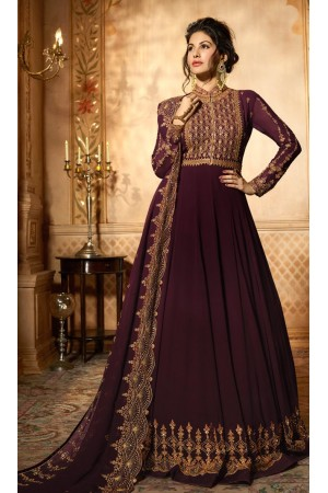 Amyra Dastur Wine georgette wedding anarkali 9085